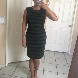 Vince Camuto green and black striped dress